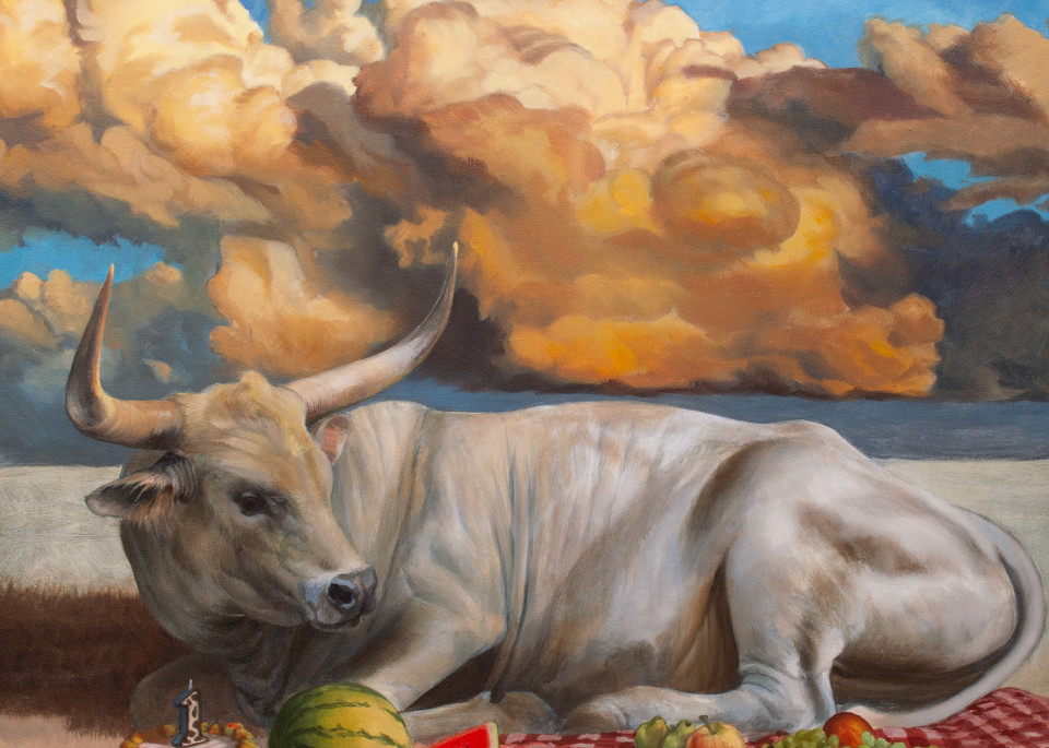 Picnic Bull Art   Kym Day Studio