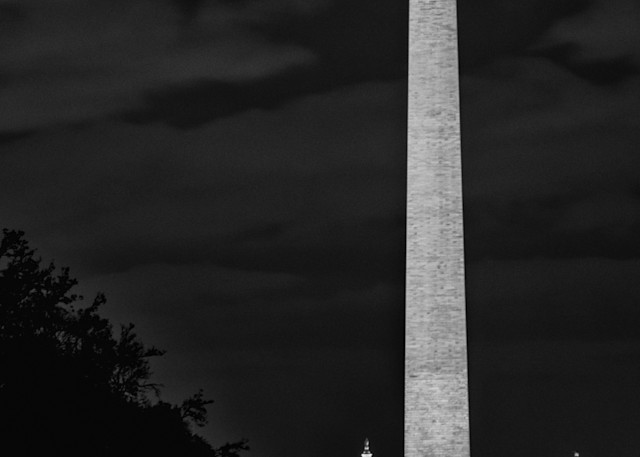 Washington Monument and US Capital Buiding at Night in Black and White