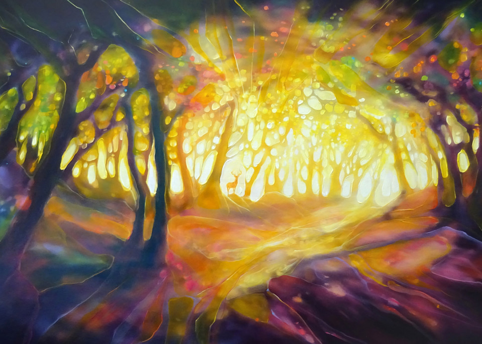 print of a glowing autumn forest clearing with a red deer stag