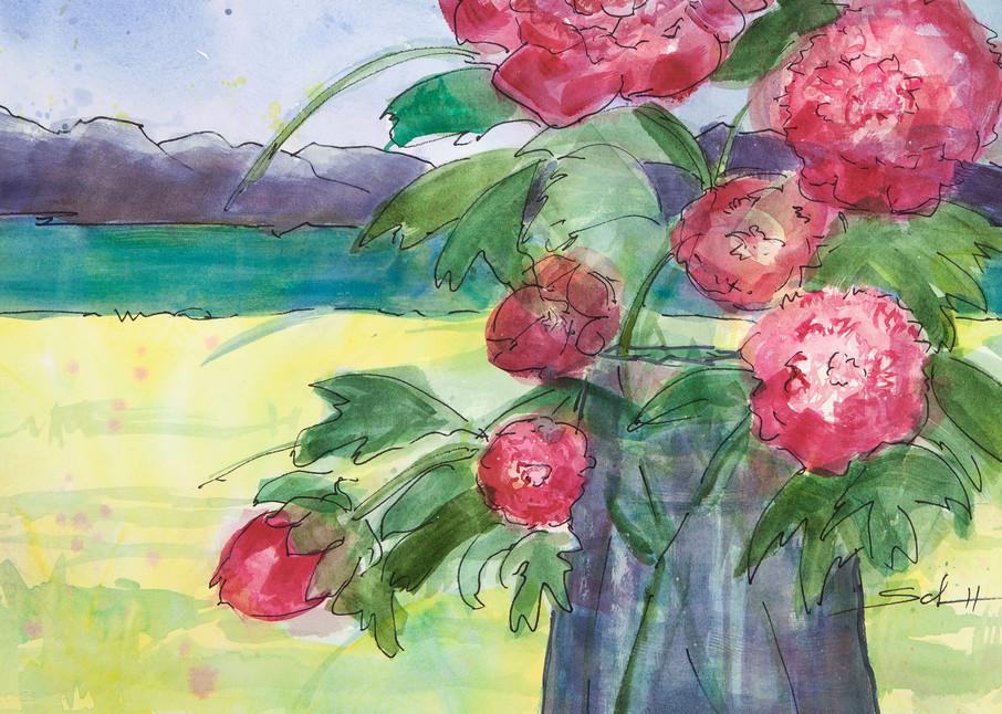 A Pitcher Of Peonies Art | Elaine Schaefer Hudson Art