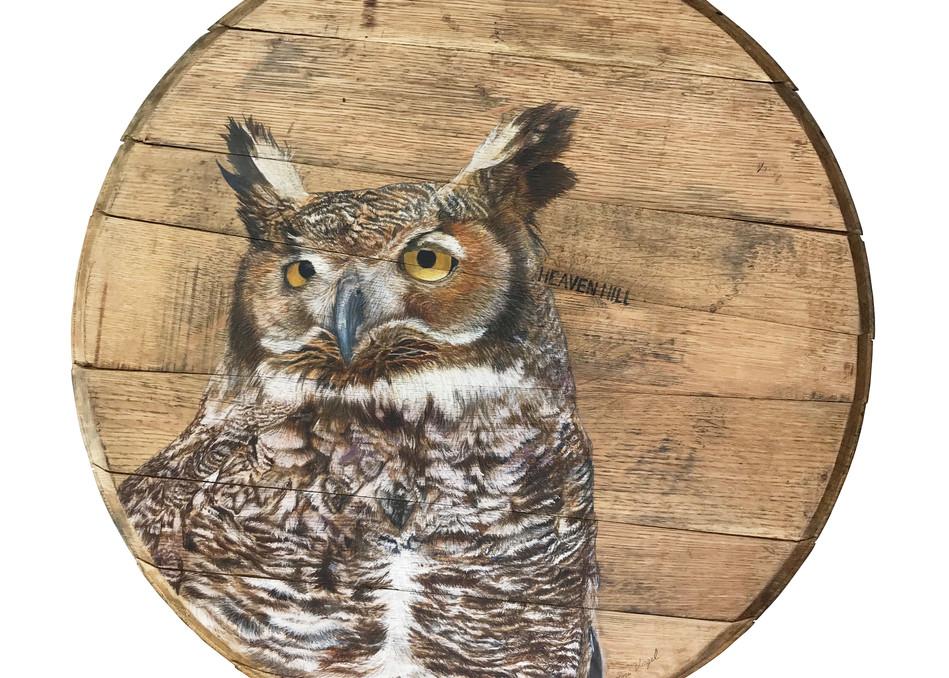 Great Horned Owl Bourbon Barrel Art | Lori Vogel Studio