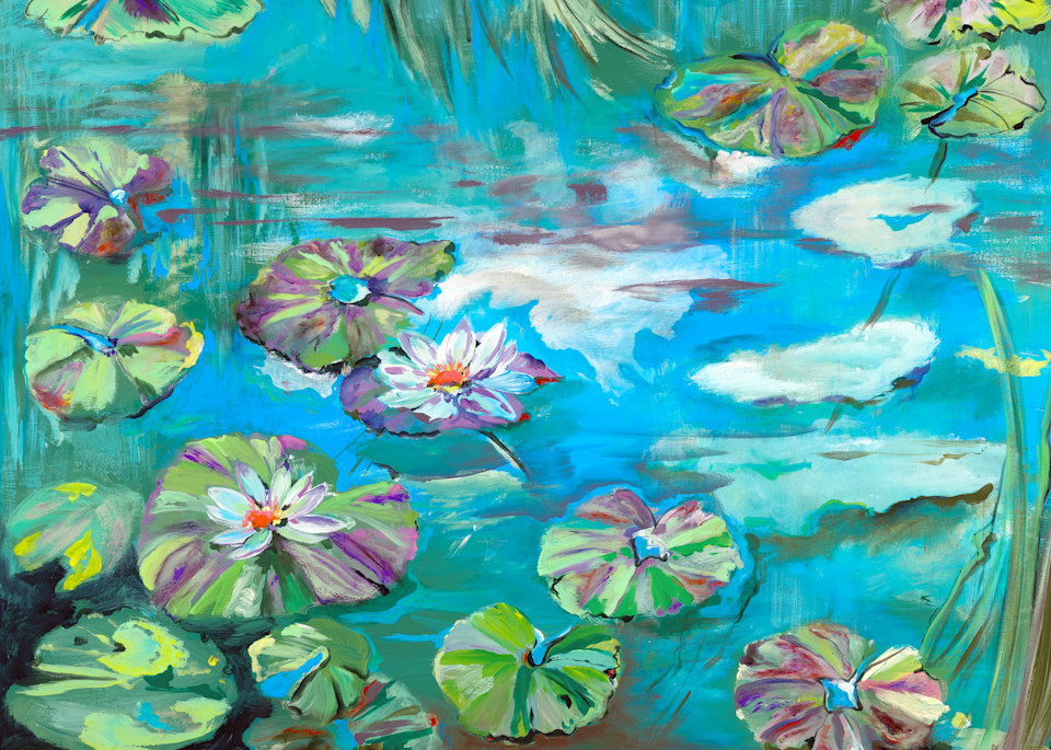 The Lily Pads and The Lotus   Beach Art   JD Shultz Art