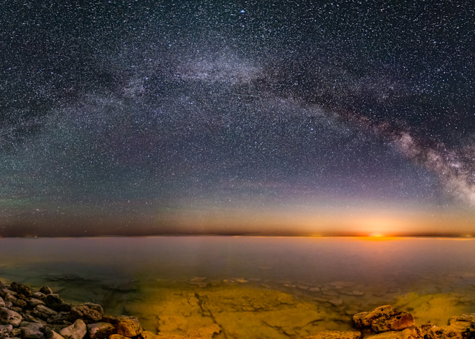 Moonrise and the Milky Way at Cana Island