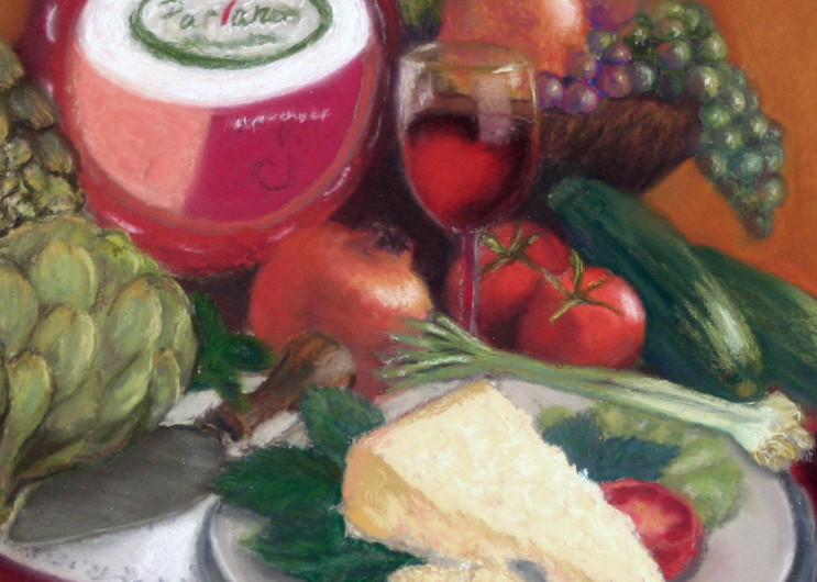 ABBONDANZA  by Nancy Conant a painting of good food