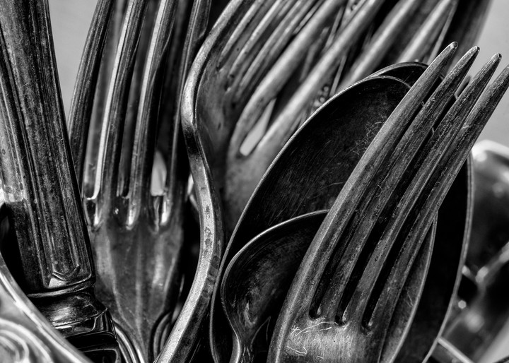 John E. Kelly Fine Art Photography – Forks, Spoons and Knives in Pitcher - Silver