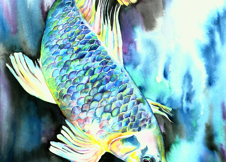 White Asian Carp Watercolor Print