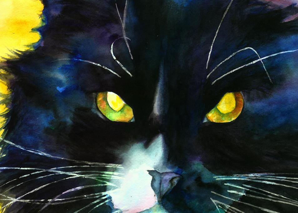 Long Haired Black Cat Watercolor Print