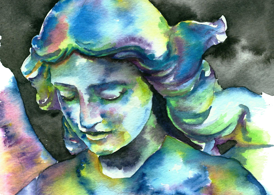 Angel Statue Watercolor Painting in Cool Colors.