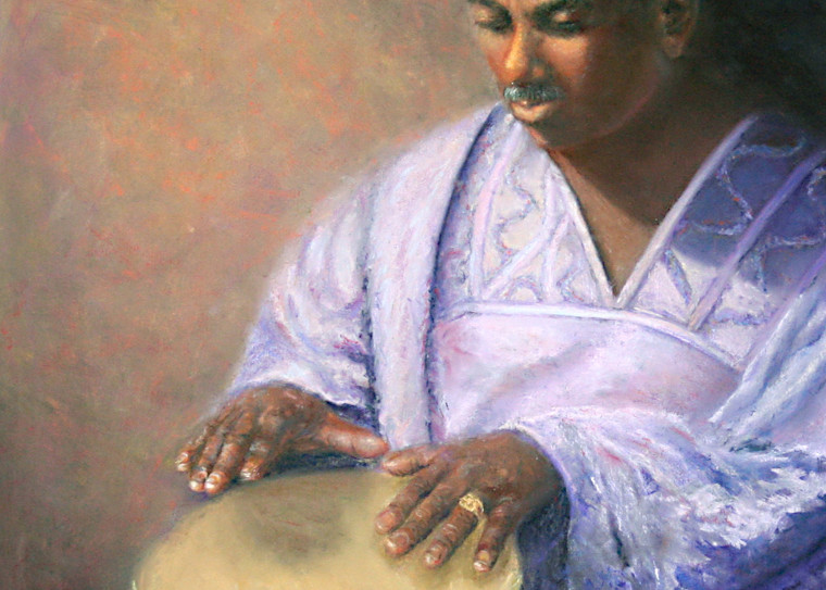 Raymond of Ghana by Nancy Conant is a friend playing an African drum