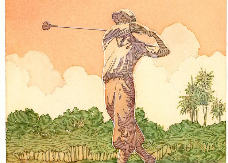 Golfer Honda Golf Classic Art | Andre Junget Illustration LLC