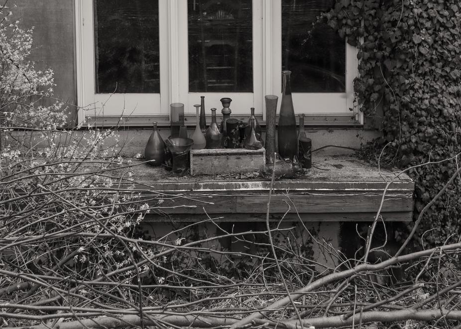 Bottles Outside Window Photography Art   Alina Marin-Bliach Photography/alinabstudios LLC