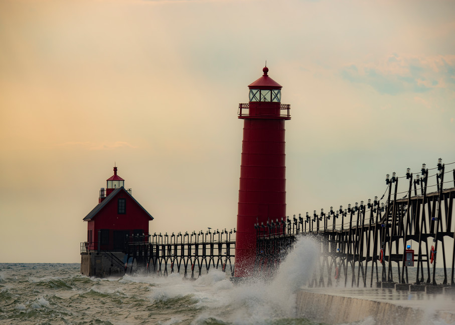 Evening Stormy Waves Grand Haven
