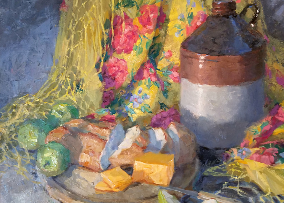 Cheese And Bread With Yellow Scarf Art   Diehl Fine Art