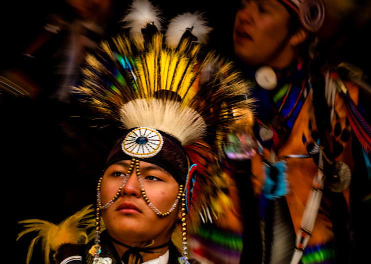 Young Blackfoot Native American Dancers in Traditional Clothing