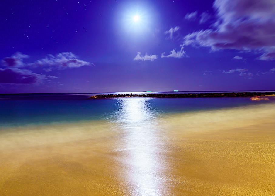 Waikiki Beach, Hawaii Beach At Night Fine Art Print Art | McClean Photography