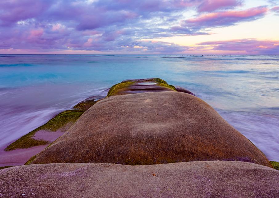 Waikiki Beach, Hawaii Stone Sunrise Fine Art Print Art | McClean Photography