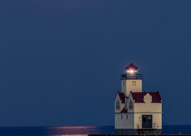 Moon Over Kewaunee Pierhead Lighthouse