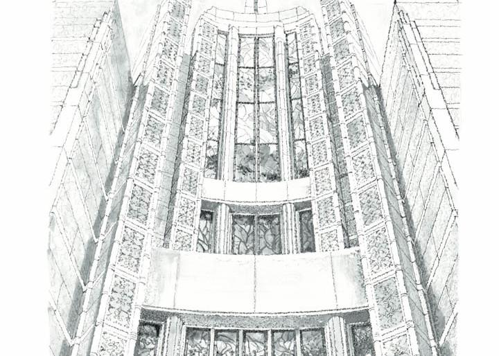 Rome Italy Temple - Windows of Heaven B&W