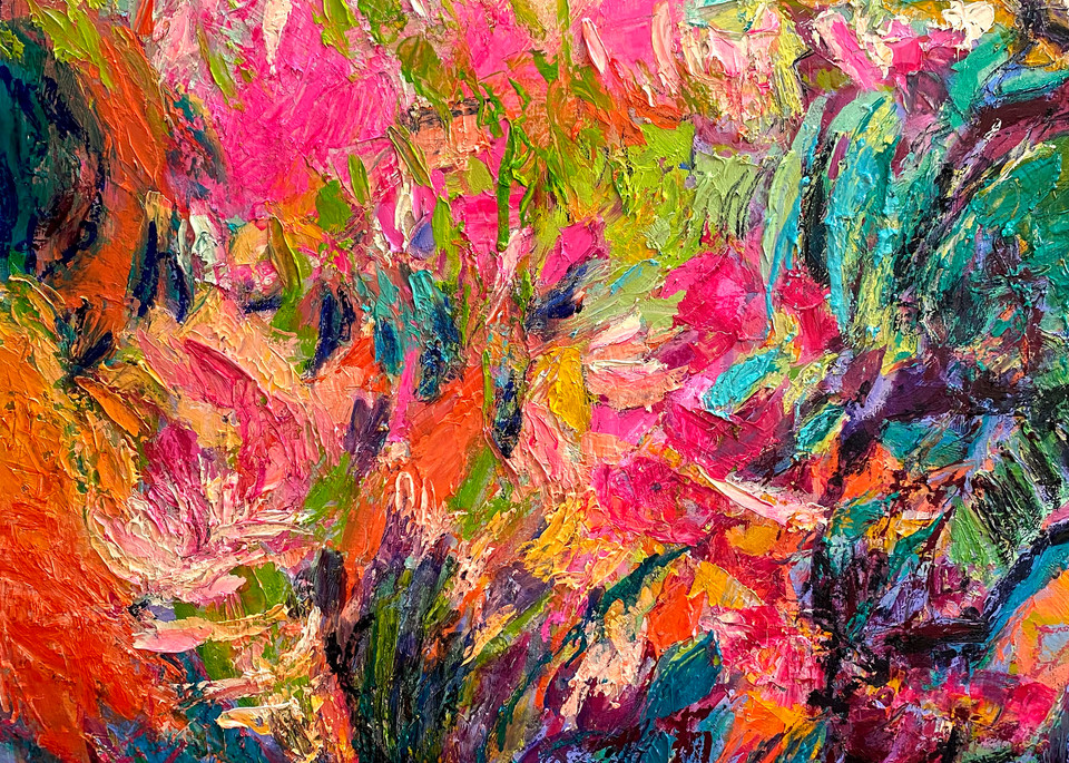 Coral Pink Abstract Floral Painting Canvas Print by Dorothy Fagan