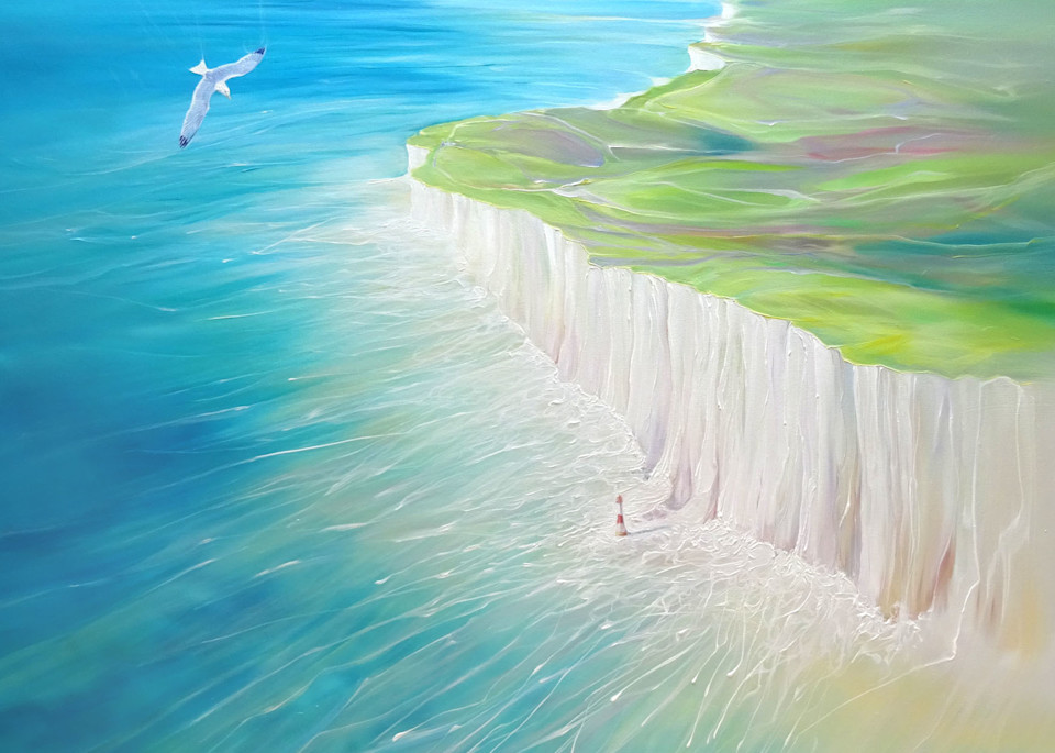 seascape painting of the sea, Seven Sisters' chalk cliffs and the lighthouse at Eastbourne in East Sussex