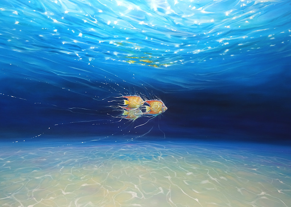 prints  of an underwater seascape with three fish in sparkling water