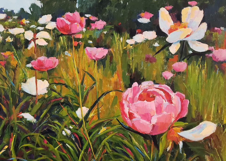 Landscape with Pink Peonies