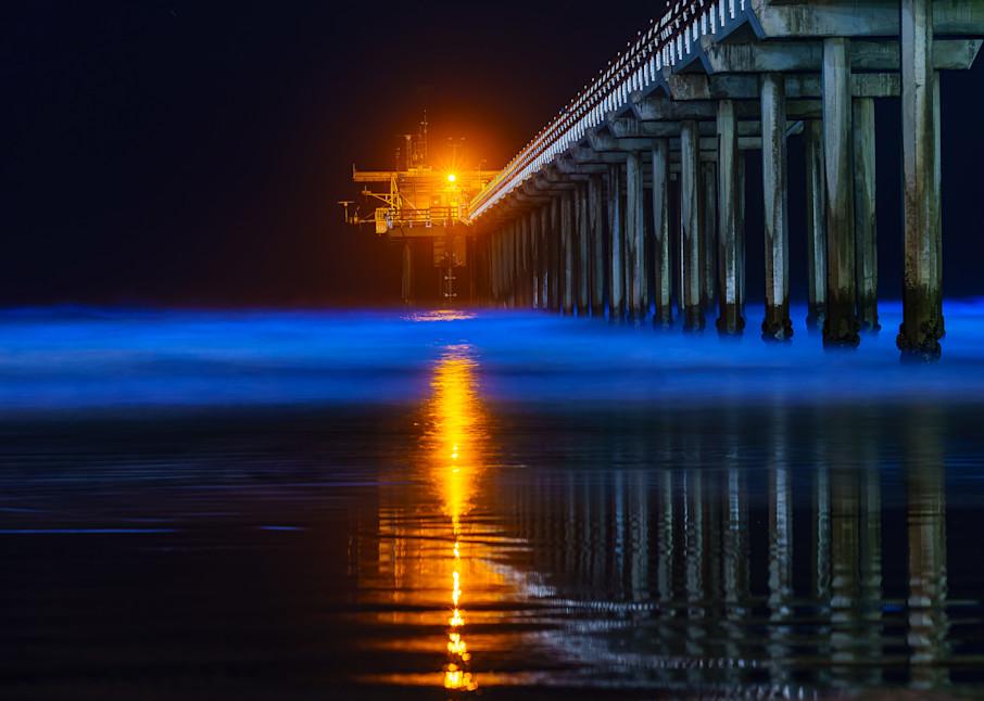 Scripps Pier, La Jolla Bio Luminescence Wall Art Print by McClean Photography