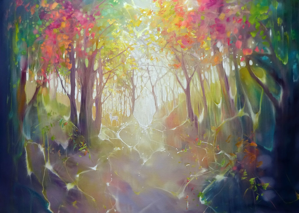 print of a woodland autumn path painting