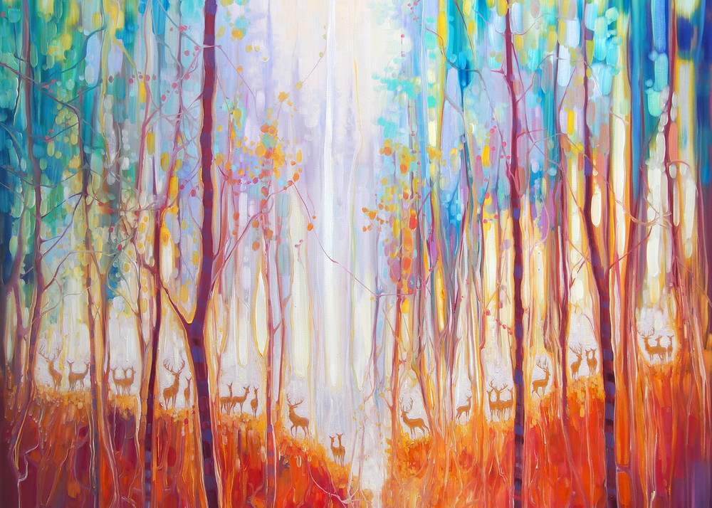 Print Of Forest Souls   An Autumn Forest With Deer Art | Gill Bustamante Artist