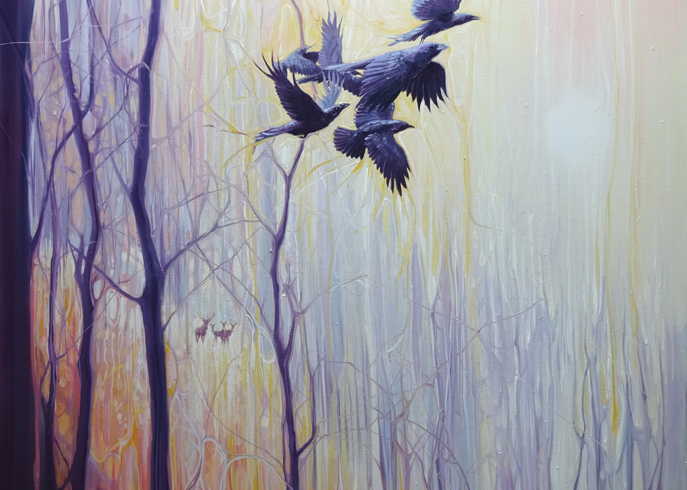 Print   Forest Dynasties   Ravens And Deer In A Winter Forest Art | Gill Bustamante Artist