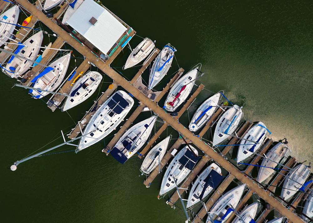 Birds Eye of Docked Boats
