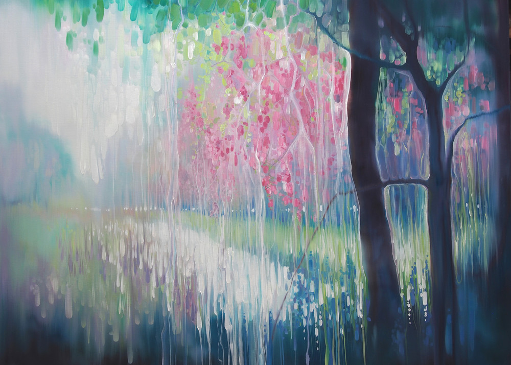 prints on canvas and paper large of a spring inspired abstract landscape of springtime with blossom, bluebells and deer