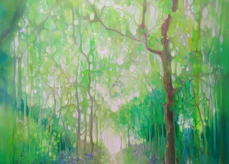 print on canvas or paper of green painting of a path through a green forest in Sussex in springtime
