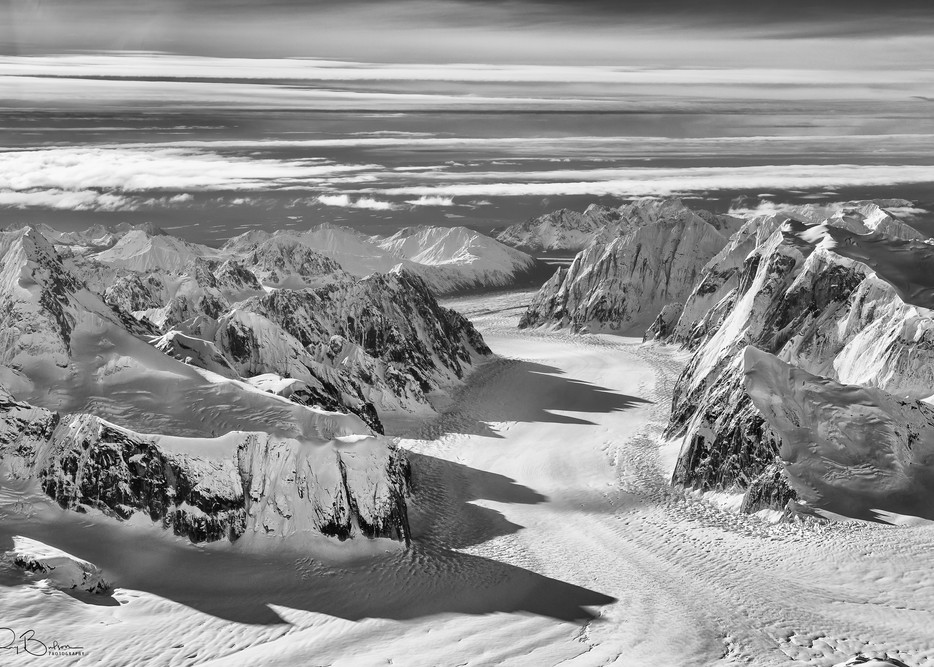 Aerial of the Ruth Glacier and The Great Gorge on Denali (Mt. McKinley) in Denali National Park in Southcentral Alaska. Autumn. Morning.