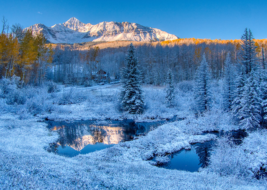Mount Wilson Reflection In Fall Snow Photography Art | Peter Batty Photography