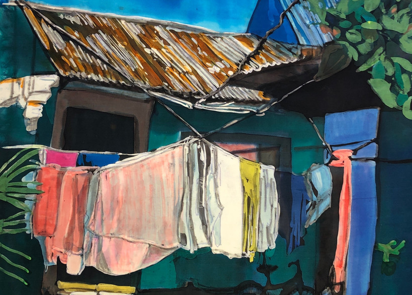 """""""Wash Day: Tortuguerro""""  by artist Muffy Clark Gill_"""" is a rozome (batik) painting on silk measuring 18 x 24 in."""