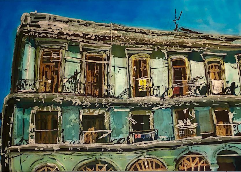 """""""Wash Day: Havana Balconies""""- by artist Muffy Clark Gill is a rozome (batik) painting on silk_ measuring 24 x 36 in."""