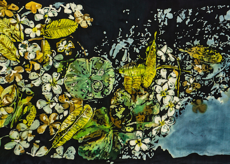 Agua XXIII:Fading Memories by artist Muffy Clark Gill is a rozome (batik) painting on silk and mounted in a  silver frame.It measure 23 x 36 inches.