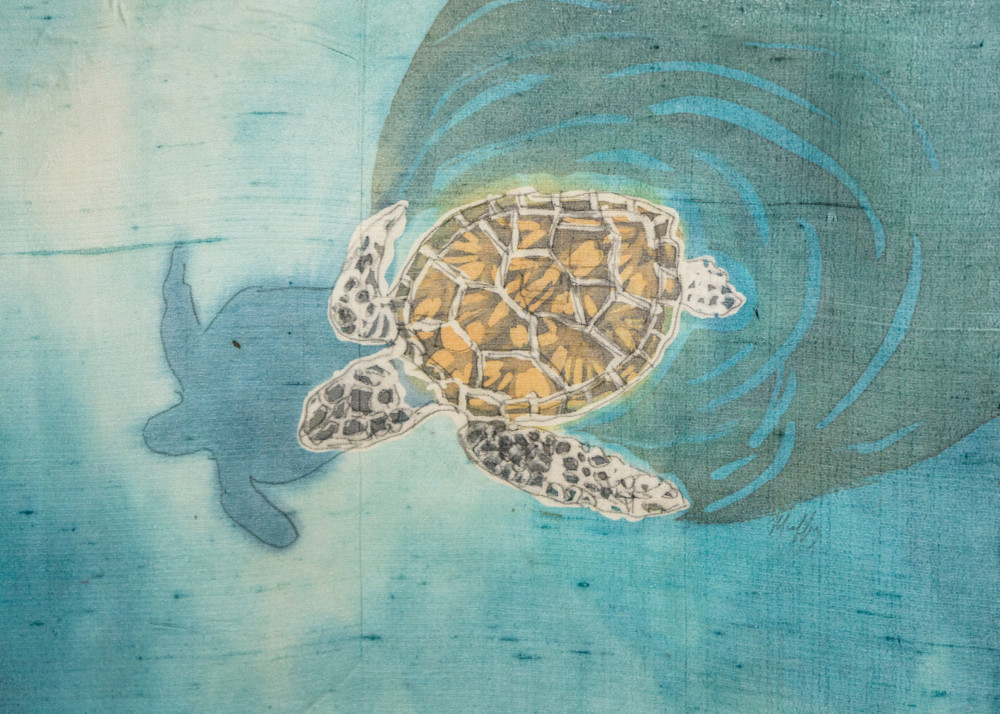 Turtle with Shadow is a rozome (batik) painting on silk by artist Muffy Clark Gill