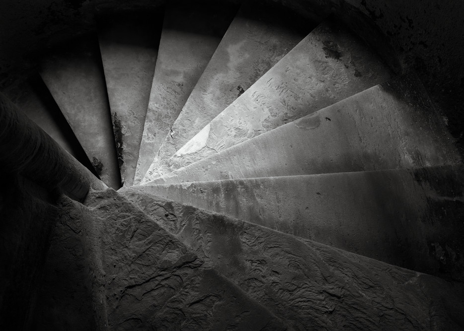 B&W Image of Tower Steps, Linlithgow Palace, birthplace of Mary, Queen of Scots, Scotland