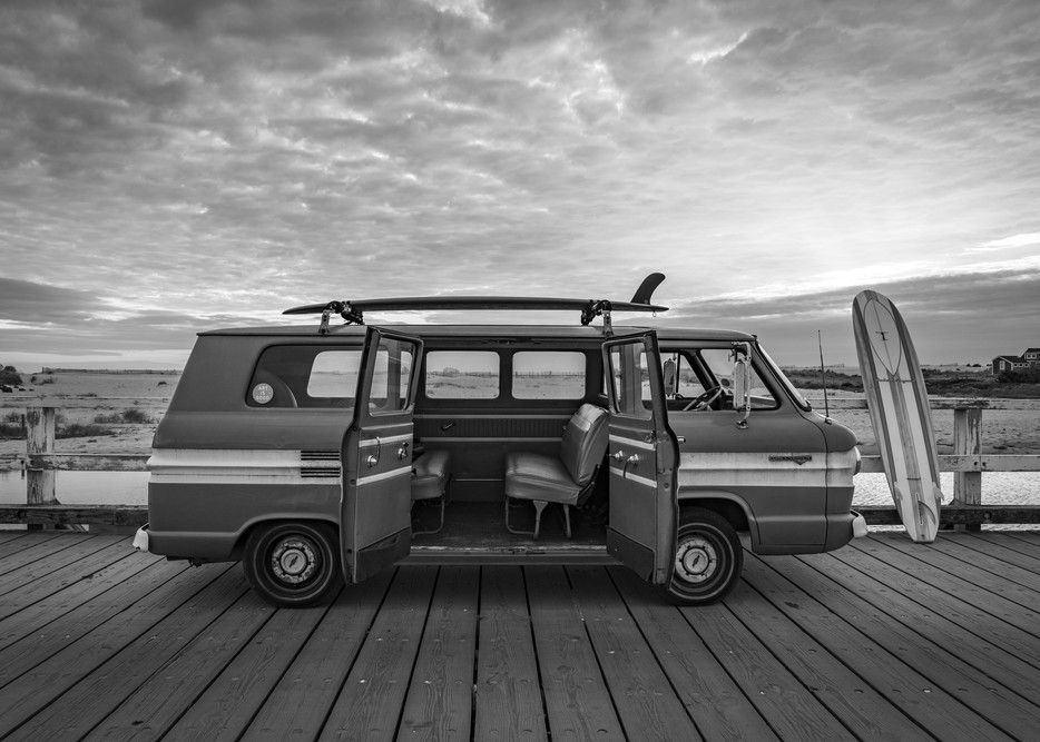 1965 Greenbriar With Surfboards In B/W Photography Art | Kit Noble Photography