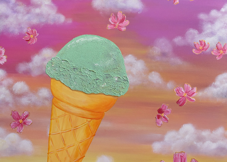 Happiness Art Painting - Ice Cream Celebration - Original Painting - Fine Art Prints on Canvas, Paper Metal and More