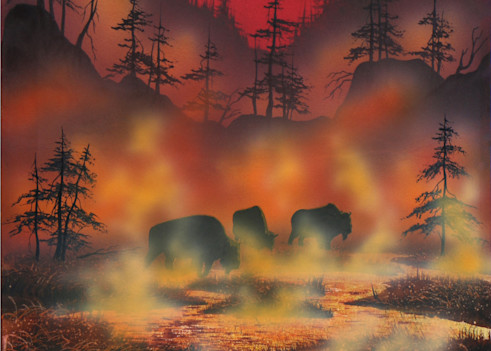 Honeymoon in Yellowstone, a buffalo and Yellowstone Park art print by Montana artist, Joe Ziolkowski.