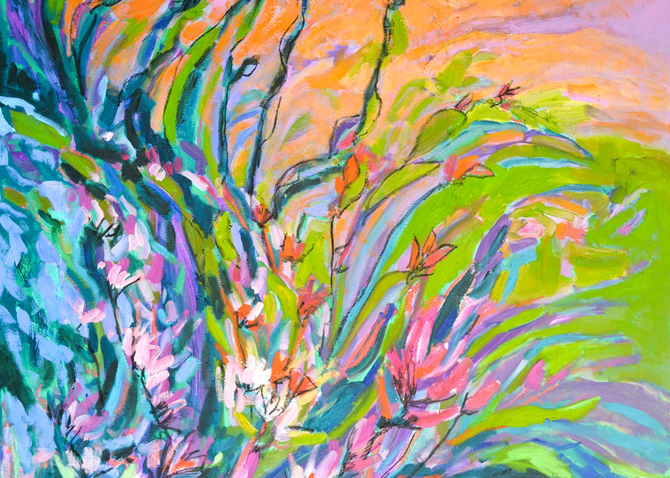 Oversize Floral Painting by Dorothy Fagan