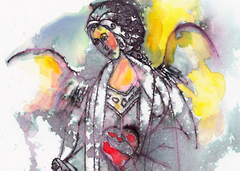 Watercolor painting of Angel by K. Maniscalco Santa Fe New Mexico giclee prints available on fine art paper