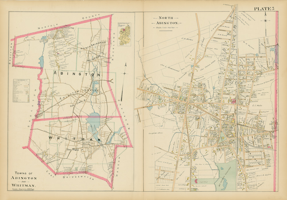 Abington + Whitman Towns + North Abington Village 1903 Art | Frame Center