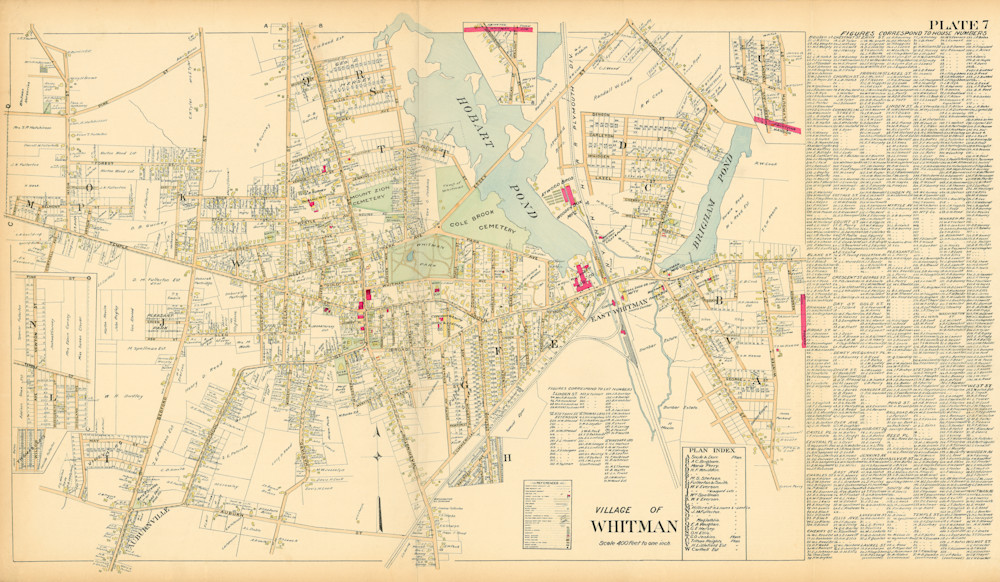 Whitman Village 1903 With Names Art | Frame Center