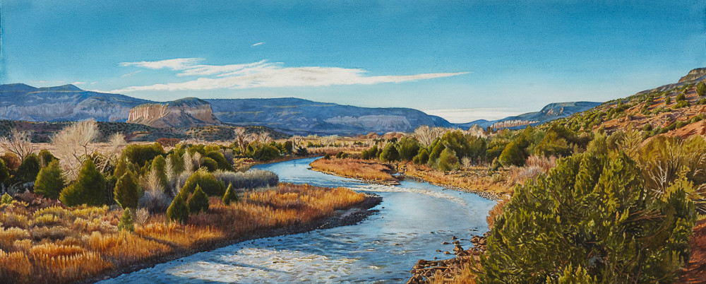 Fall Afternoon, Chama River, watercolor, watercolor landscape, landscape, New Mexico, Southwest, Southwest landscape, Chama river