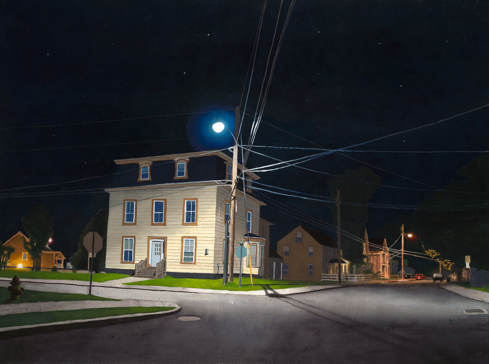 Elm and Pleasant Street, watercolor, gouache, nocturne, watercolor nocturne, gouache nocturne, vermont, new england,