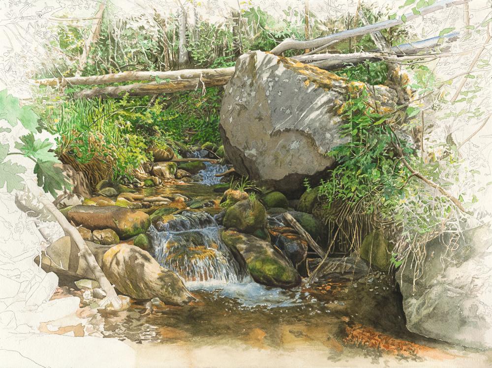Rio En Medio,watercolor, landscape, watercolor lanscape, New Mexico, Southwest, Southwest landscape